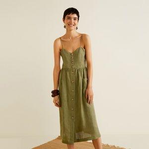 Mango Midi Linen-Blend Dress with Pockets